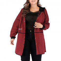 Plaid Hoodie Splicing Casual Trench Coat -