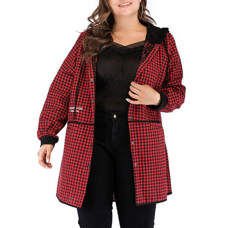 Chic Plaid Hoodie Splicing Casual Trench Coat