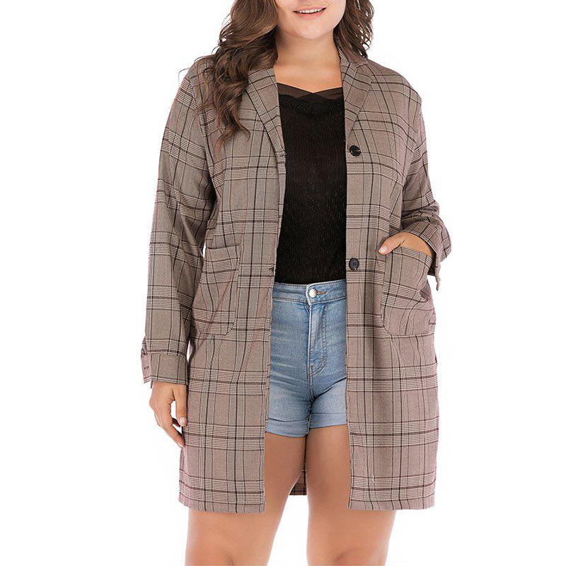 Store Plaid Long Sleeve Thin Trench Coat