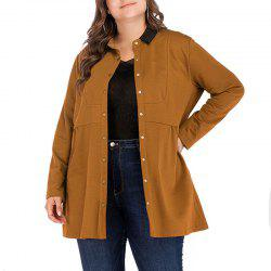 Solid Color Lapel Single Breasted Long Sleeve Loose Coat -