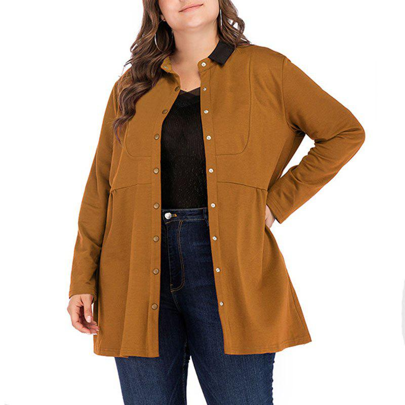 Discount Solid Color Lapel Single Breasted Long Sleeve Loose Coat