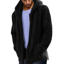 New Man Fashion Full Sleeve with Hooded Faux Fur Warm Solid Casual Cardigan Coat -