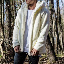 New Man Fashion Full Sleeve avec capuche fausse fourrure chaude solide Cardigan Casual Casual - Blanc XL