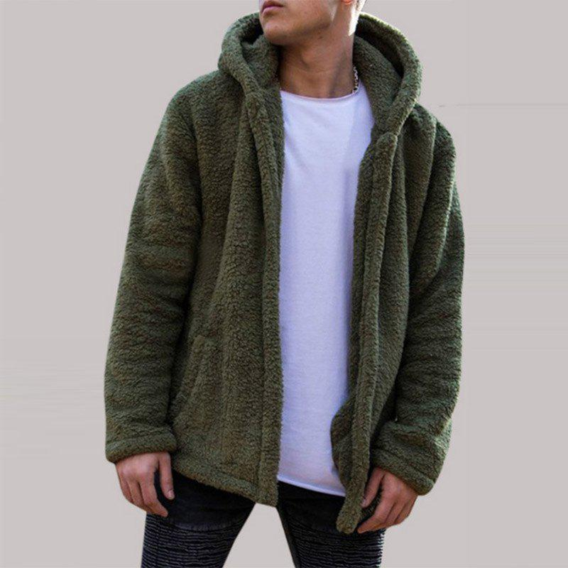 Hot New Man Fashion Full Sleeve with Hooded Faux Fur Warm Solid Casual Cardigan Coat