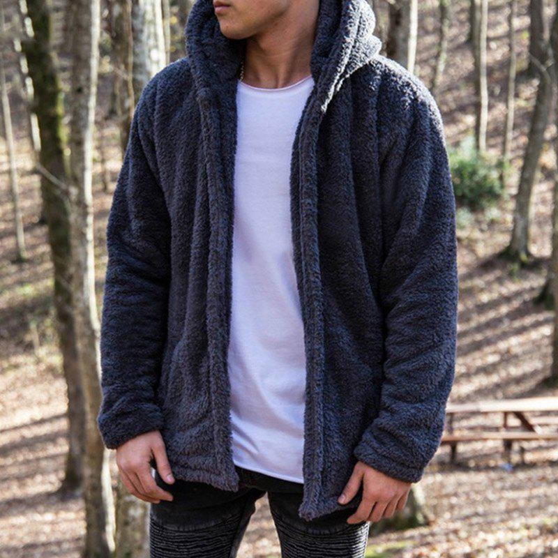 New Man Fashion Full Sleeve avec capuche fausse fourrure chaude solide Cardigan Casual Casual