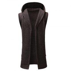 New Man Fashion Sleeveless with Hooded Solid Sweater Cardigan -