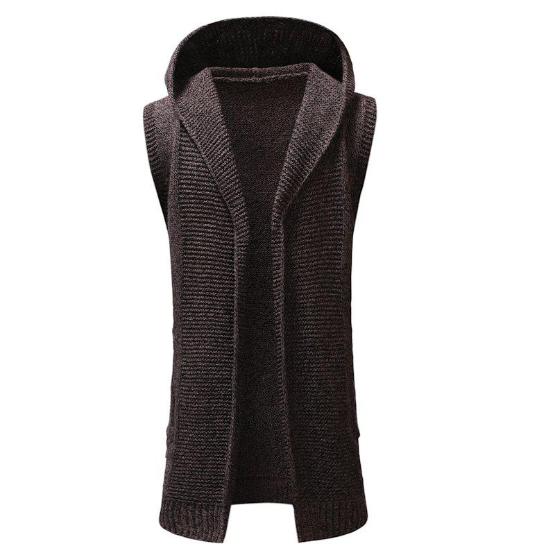Outfit New Man Fashion Sleeveless with Hooded Solid Sweater Cardigan
