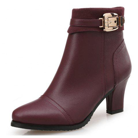 Pointed Thick with Belt Buckle High Heel Women'S Booties