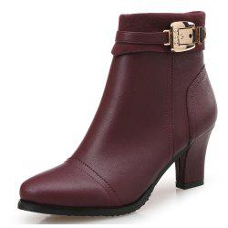 Pointed Thick with Belt Buckle High Heel Women'S Booties -