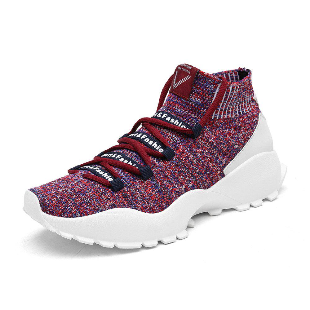 Cheap Men'S Fashion Flying-Knitted High Socks Leisure Sports Shoes