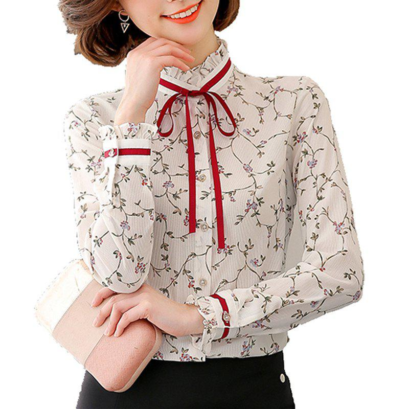 af3e278a0ed Sale Women Stand Collar Wild Bow Floral Print Plus Size OL Long Sleeve  Chiffon Shirt