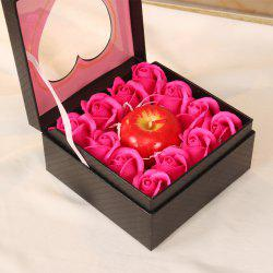 Simulation Aromatherapy Apple Candle 12 Soap Rose Flower Gift Box Holiday Gift -