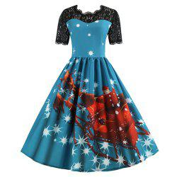 Printed Patchwork Dress with Short Sleeves and Large Skirt -