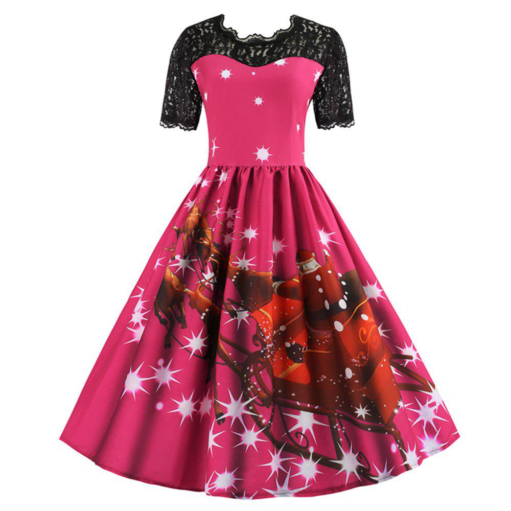 Buy Printed Patchwork Dress with Short Sleeves and Large Skirt