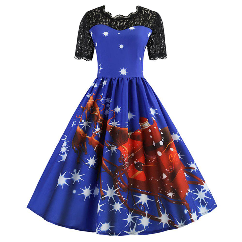 Shops Printed Patchwork Dress with Short Sleeves and Large Skirt