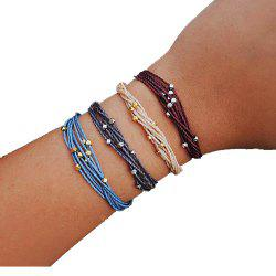 Four-Color Beaded Multicolor Cotton Rope Women'S Bracelet Adjustable Suit -