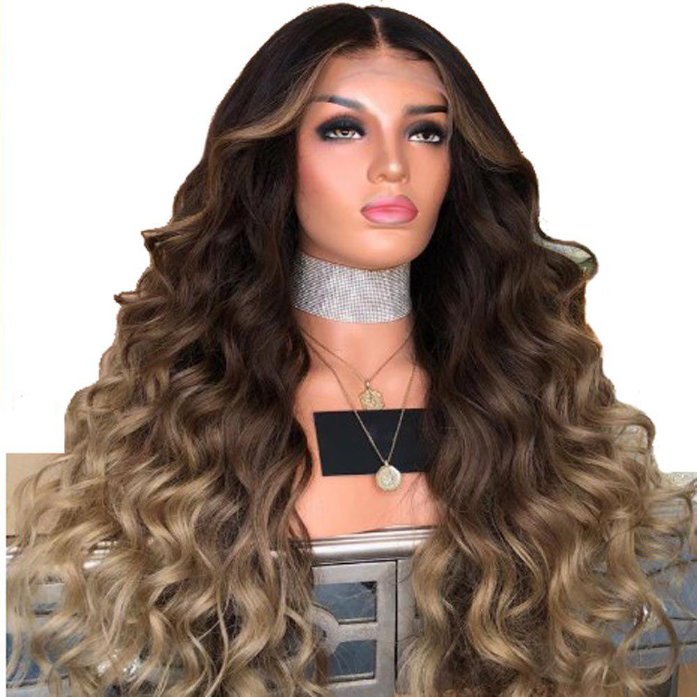 Chemical fiber high temperature silk women's mixed color long hair curls