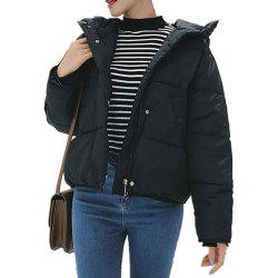 Women'S Quilted Coat Loose Covered Button Zipper Hooded Coat -