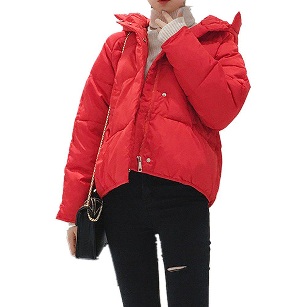 Shops Women'S Quilted Coat Loose Covered Button Zipper Hooded Coat