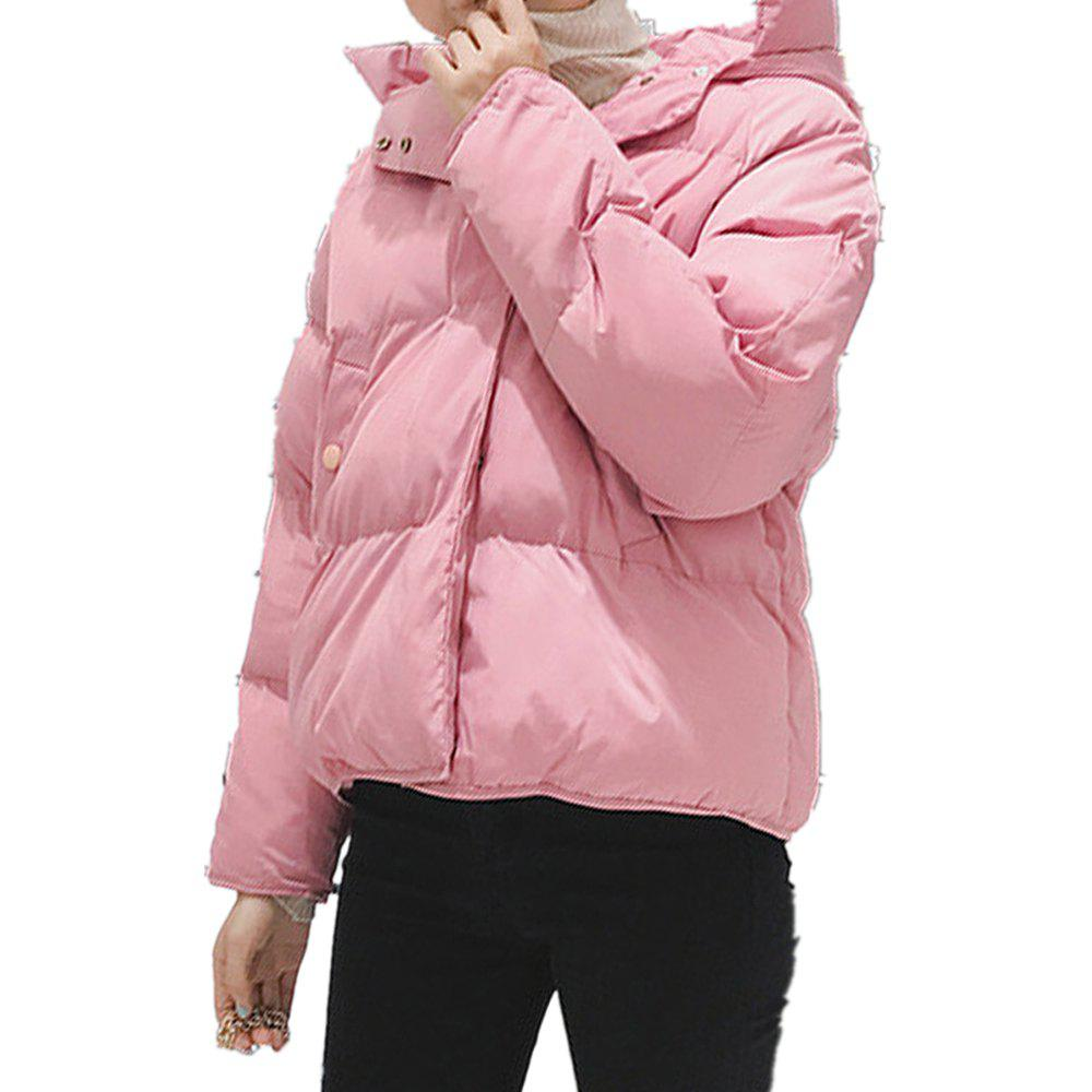 Online Women'S Quilted Coat Loose Covered Button Zipper Hooded Coat