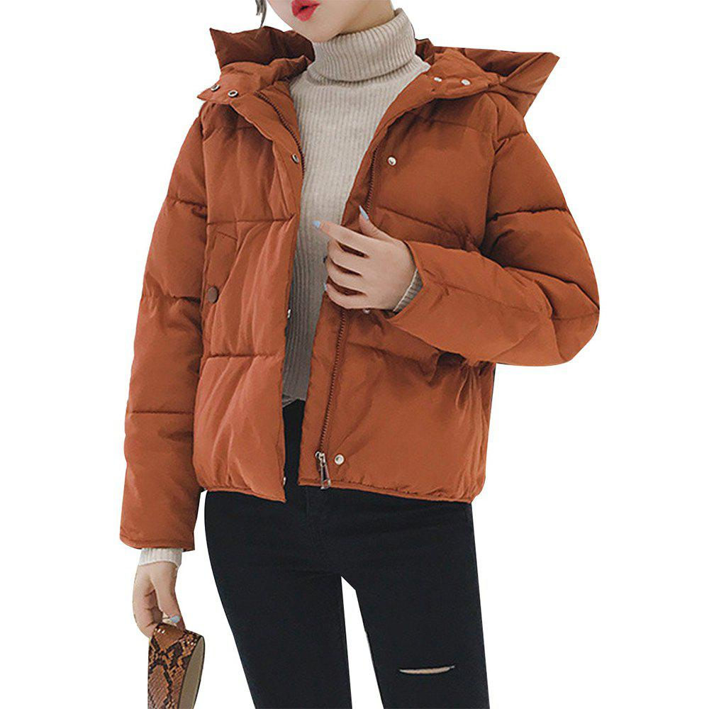Affordable Women'S Quilted Coat Loose Covered Button Zipper Hooded Coat