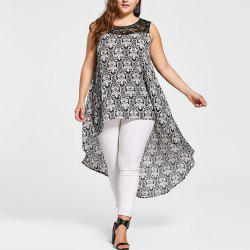 Women'S Blouse Floral Print Pattern Sleeveless High Low Plus Size Casual Top -
