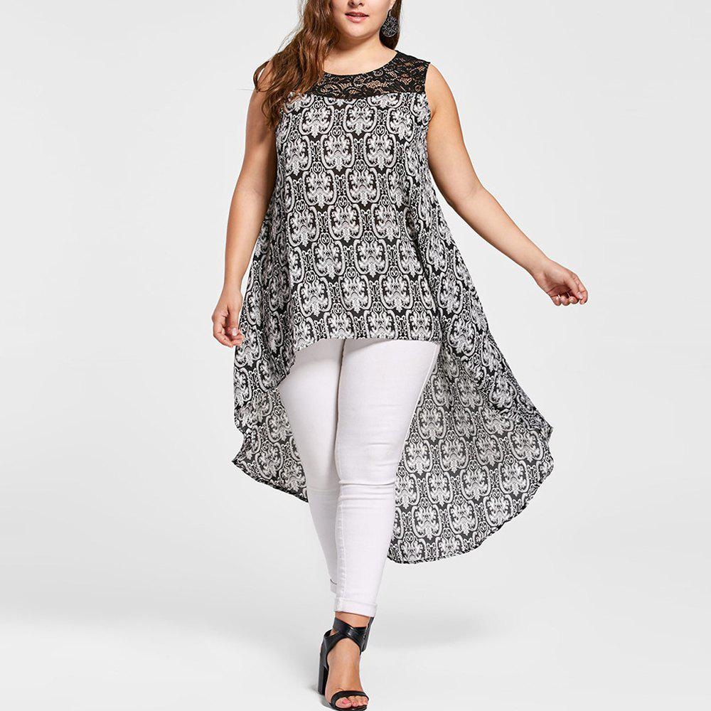 Best Women'S Blouse Floral Print Pattern Sleeveless High Low Plus Size Casual Top