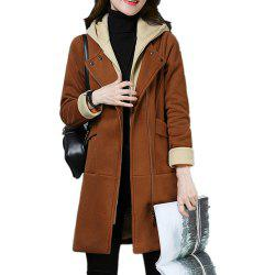 Women'S Quilted Coat Hooded Zipper Pachwork Layer Look Outerwear -