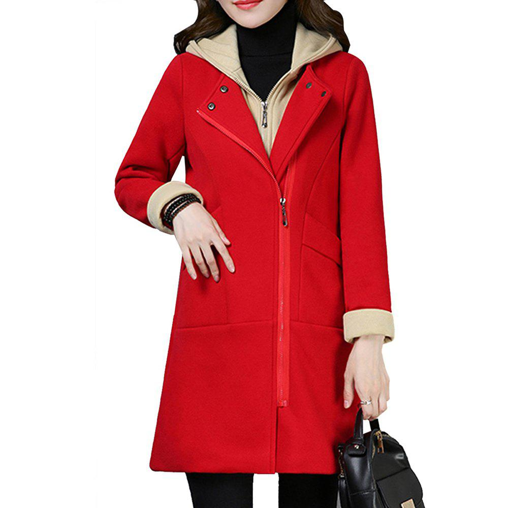 Fancy Women'S Quilted Coat Hooded Zipper Pachwork Layer Look Outerwear