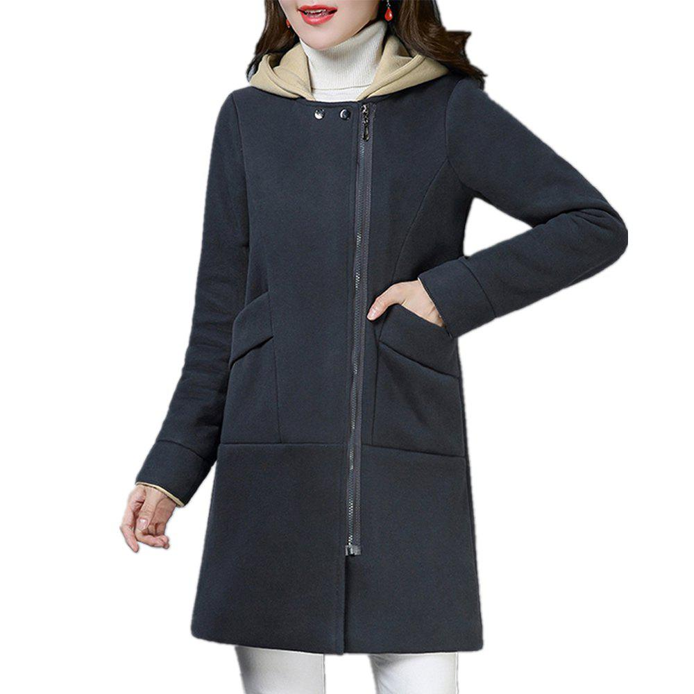 Trendy Women'S Quilted Coat Hooded Zipper Pachwork Layer Look Outerwear