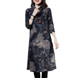 Women'S Aline Dress Loose Print Long Sleeve Midi Dress -