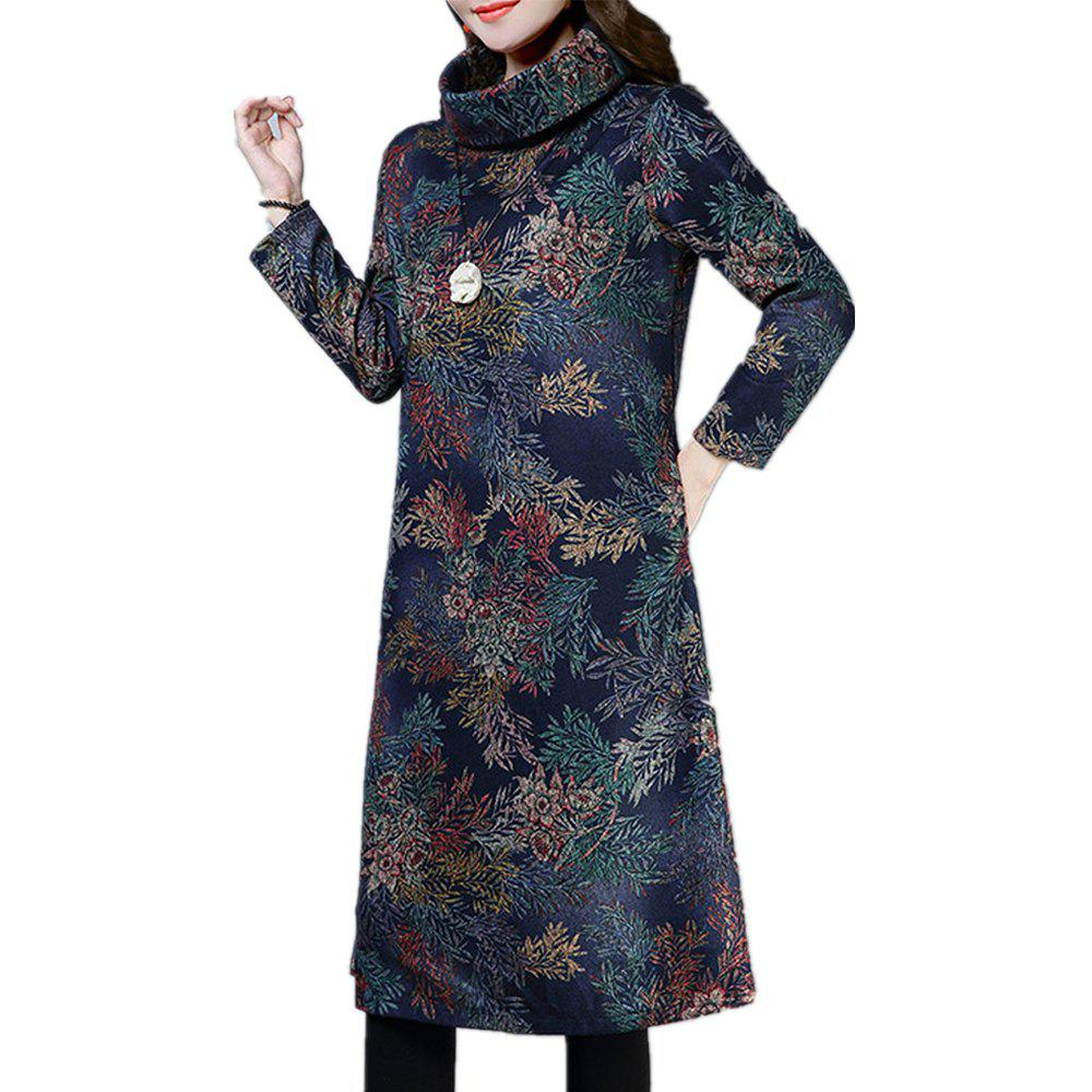 Outfit Women'S Aline Dress Loose Print Long Sleeve Midi Dress