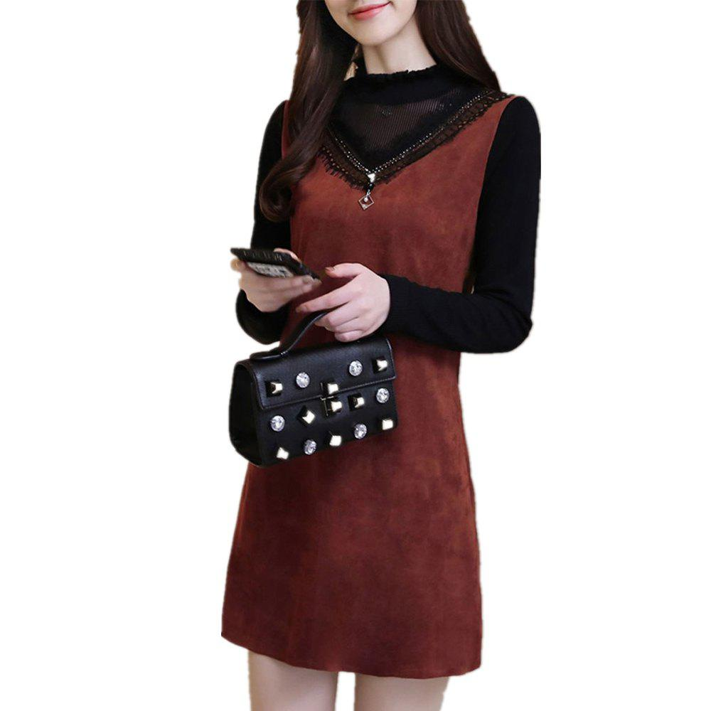 Hot Women's Aline Dress Long Sleeve Turtle Neck Patchwork Dress