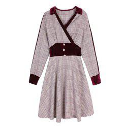 Women'S Aline Dress Turn Down Collar Patchwork Plaid Long Sleeve Dress -