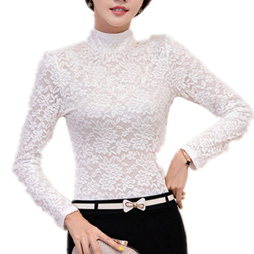 Buy Women's Long Sleeve with High Collar Lace Priming Shirt