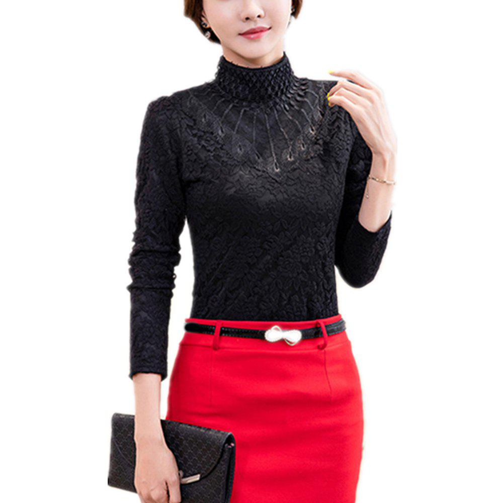 Hot Women's Long Sleeve with High Collar Lace Priming Shirt