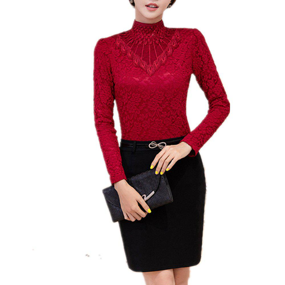 Unique Women's Long Sleeve with High Collar Lace Priming Shirt