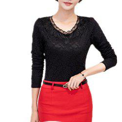 Lace Blouse Padded Long Sleeve Crewneck Temperament Base Shirt -