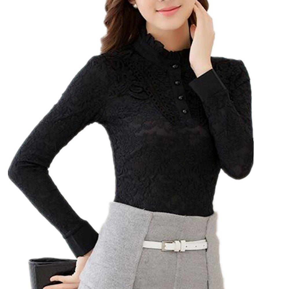 Best High - Necked Long - Sleeved Lace Shirt Women Thickened Warm Jacket