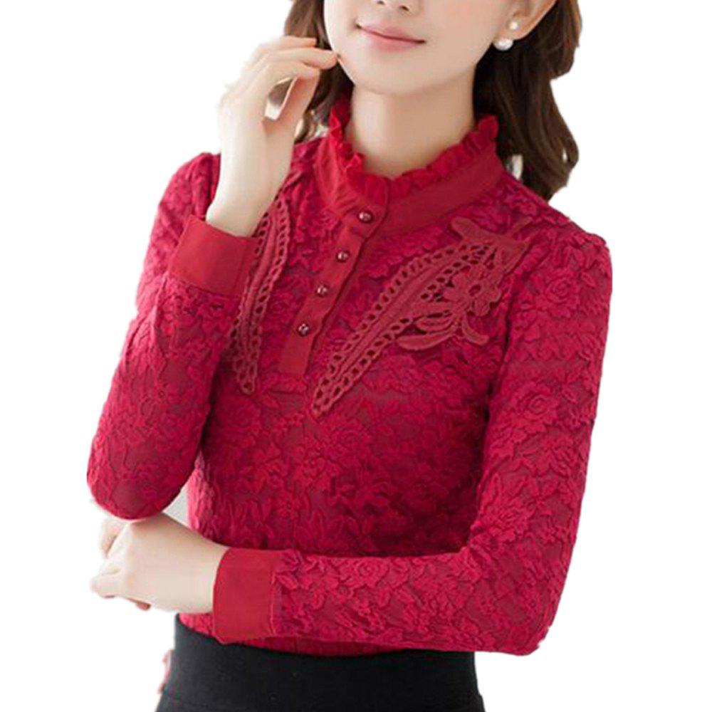 Buy High - Necked Long - Sleeved Lace Shirt Women Thickened Warm Jacket