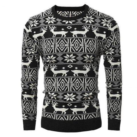 Round Collar Leisure Long Sleeve Head Christmas Deer Sweater Male Thickening