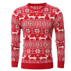 Round Collar Leisure Long Sleeve Head Christmas Deer Sweater Male Thickening -