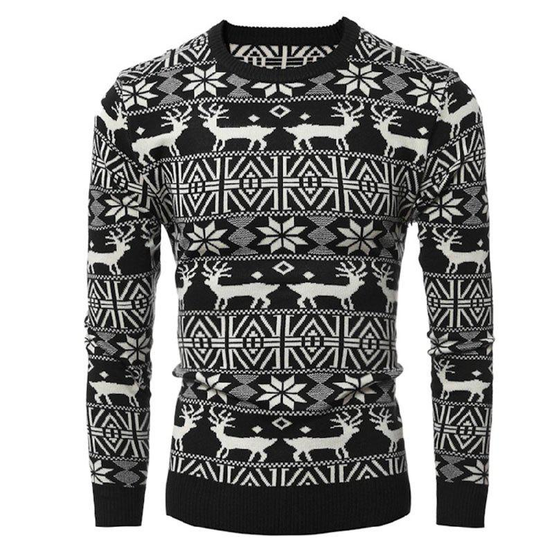 Cheap Round Collar Leisure Long Sleeve Head Christmas Deer Sweater Male Thickening