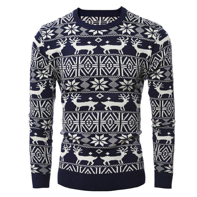 Fancy Round Collar Leisure Long Sleeve Head Christmas Deer Sweater Male Thickening