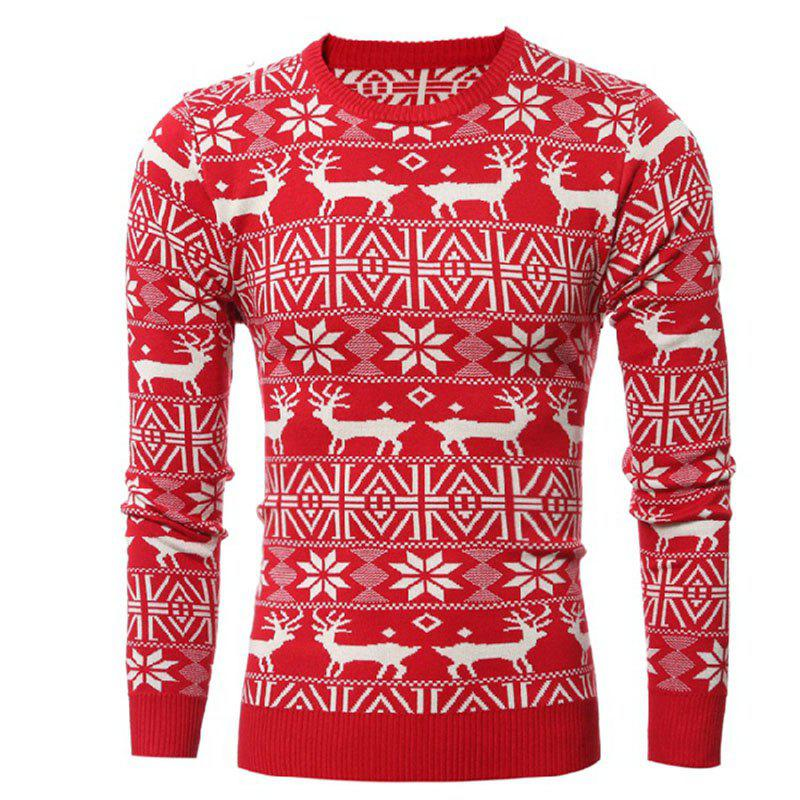 Hot Round Collar Leisure Long Sleeve Head Christmas Deer Sweater Male Thickening