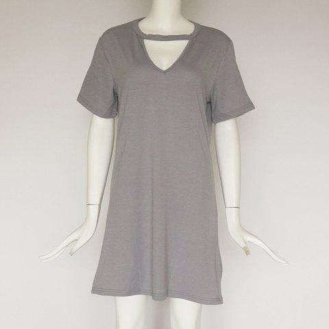 Sexy Deep V Short Sleeve T-Shirt Loose Casual Dress