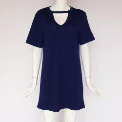 Sexy Deep V Short Sleeve T-Shirt Loose Casual Dress -