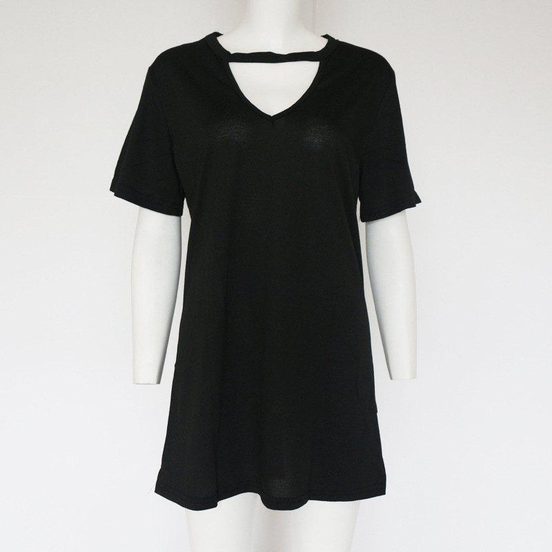 Affordable Sexy Deep V Short Sleeve T-Shirt Loose Casual Dress