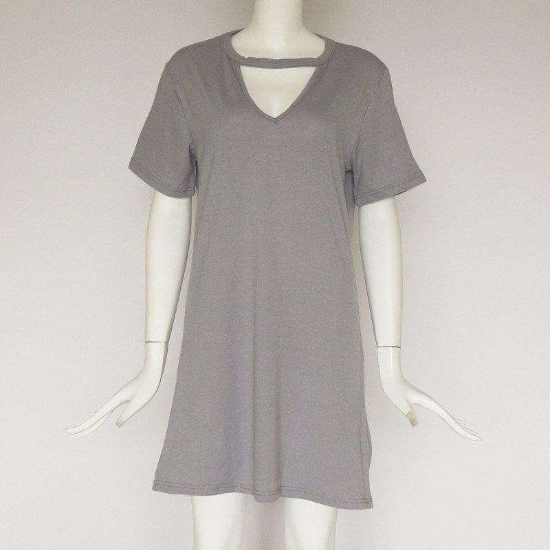 Trendy Sexy Deep V Short Sleeve T-Shirt Loose Casual Dress