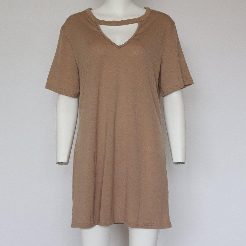 Store Sexy Deep V Short Sleeve T-Shirt Loose Casual Dress